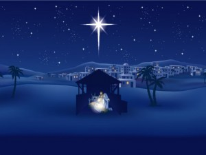 Christmas Nativity blue